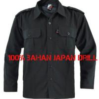 Kemeja hitam /kemeja PDL / Baju Pdl 100% Bahan Japan Drill