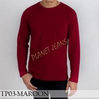 Baju kaos polos lengan panjang pria / polosan cowok warna merah maroon