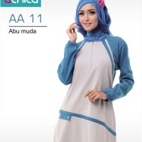Baju muslim kaos wanita blouse/Atasan Alnita AA-11 ABU MUDA MIX BIRU