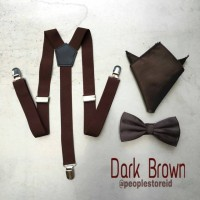 Paket DARK BROWN suspender bretel + dasi kupu bowtie + pocket square