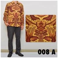 008A Baju Kemeja Batik Semi Sutra Pria Lengan Panjang Kantor - M
