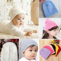 topi kupluk anak bayi balita rajut beanie baby hat tebal warna warni
