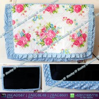 Cover TV,bando TV,Tutup TV LED/LCD motif Bunga Merah mix biru doty