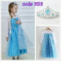 kostum elsa princess frozen / baju dress elsa welcome resellers 3531