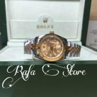 jam tangan Rolex oyster date just kombi automatic gradeAAA box ori