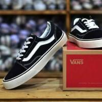 Sepatu sneakers anak skateboard murah,keren Vans Old skool garis putih