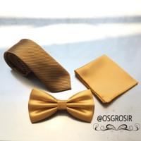 paket hemat ala Gold dasi dan pocket square
