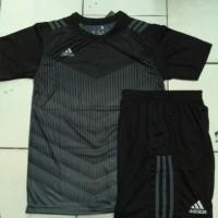 Setelan baju Futsal Bola Adidas Printing Prime Hitam Abu