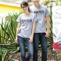 Couple Pasangan Baju Kaos korea style Paris Lumer Grey Abu