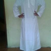 gamis jubah pria putih bahan katun/perlengkapan haji dan umroh
