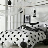 bed cover set motif bintang warna hitam dan putih ukuran single