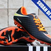 sepatu bola Nike Hypervenom Hitam Orange Full Embos KW Super(terbaru)