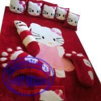Karpet Karakter Hello Kity Full Set Murah, Karpet Bahan Rafsur Halus