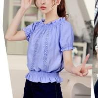 Atasan Blouse Sabrina Impor Korea Katun Baju Murah Natal Baru