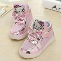 Sepatu walker anak Hello Kitty import boot pink glitter lampu LED