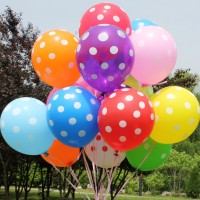 Balon Latex Polkadot 12 Inchi Warna Campur (Per pak Mixed Colour)