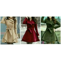 Jaket Mantel Coat baju hangat wanita korea Red Velvet & hijau