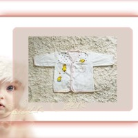 Baju Bayi-New Born-Katun Premium-Lengan Panjang Bis Putih-Anna Baby