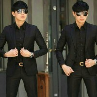 Jas Blazer pria Formal stelan SPY Black