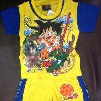 Baju setelan kaos anak Dragon Ball (ada lampu bisa nyala)