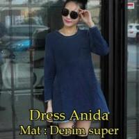 [ Dress Anida SW ] Pakaian wanita dress korea warna biru dongker