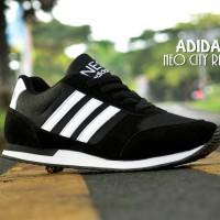 Sepatu Sport Adidas Neo City Racer Hitam putih / kets / casual cowok
