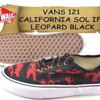 SEPATU VANS 121 CALIFORNIA SOL IFC LEOPARD BLACK KANVAS hitam merah