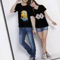 Kaos Couple / Baju Pasangan / Soulmate Minion Black 8223