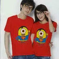 Kaos Couple / Baju Pasangan / Soulmate Superman minion Cute Red 8366