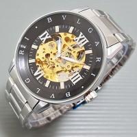 Jam Tangan Pria Bvlgari Automatic / Otomatis ROMAWI Silver Black
