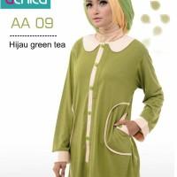 Atasan Alnita AA-09 Hijau Green Tea Baju Muslim Bahan Kaos CVC