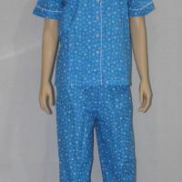 baju tidur dewasa little flower kerah sabrina/cln panjang royal blue