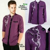 Pakaian Baju Busana Koko Muslim Pria Cowok Yudika Purple Ungu Elegan