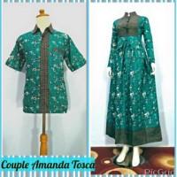 Baju Couple Sarimbit Gamis Batik Amanda Tosca, Busui, Bahan Katun
