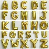 Balon Foil Huruf/Nama/angka/nomer/tulisan warna gold