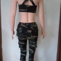 Baju Senam Aleizha army 3/4 bra sz M-XL