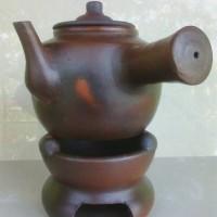 set panci teko pegangan rebus jamu dan anglo gerabah tanah liat asli
