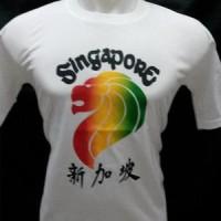 Kaos Singapura Motif Pelangi Putih Bahan Katun Halus Dan Lembut