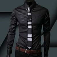 Kemeja Pria Lp700 Premium Cotton Slim Fit Shirt Lengan Panjang Hitam