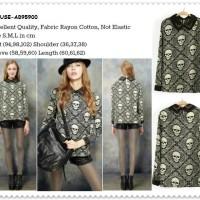 Baju Kemeja Gotik Gothic Skull  Blouse Pakaian Wanita Korea Import
