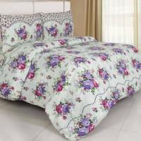 Bed cover set motif bunga warna ungu ukuran 160x200