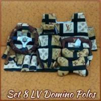 Set Car/ Sarung Jok/ Bantal Mobil LV/ Domino/ Coklat 8 in 1