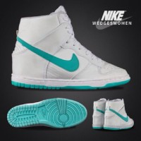Sepatu kets wanita,nike wedges women putih hijau