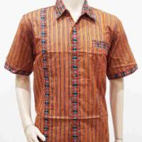 Kemeja / Hem / Atasan / Baju / Seragam Pria Batik Lurik 1593 Oren