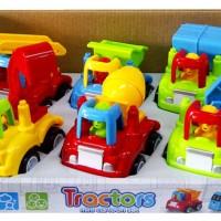 Mainan Edukatif / Edukasi Anak Tractors Mini Cartoon Set Mobil Traktor