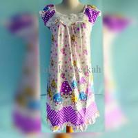 Piyama/baju tudur model dress motif jamur bahan spandek halus GKYJ