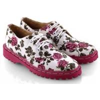 Sepatu Casual Wanita Cewek Flat Docmart Motif Bunga EW286 Pink