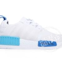 sepatu wanita sneakers casual adidas nmd r1 putih biru