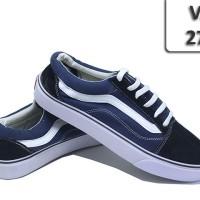 Sepatu Vans Old School Biru Garis Putih VA-274