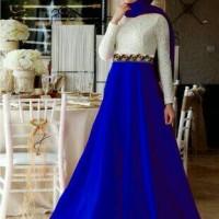 Baju gamis Muslim wanita maxi Warna biru kombi brukat